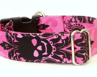 Dog Collar - Pink Royal Skull - Martingale & Buckle 1 - 2 Inch Width - Whippet, Greyhound Dog Collar
