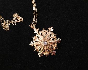 Vintage Avon Goldtone with Rhinestone Snowflake Christmas Necklace