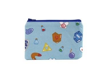 CLEARANCE  Legend of Zelda Bag / Dungeon Items Pouch /Navi Deku Shield and Rupee Zipper Pouch