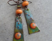 Citrus Obsession ... Enameled Copper Charms, Lampwork and Copper Wire-Wrapped Rustic, Boho Earrings