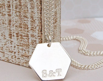 Men's Personalized Sterling Silver Hexagon with Initials Necklace, Personalised Geometric Necklace, Mens Necklace, Father's Day, Wedding
