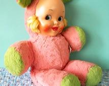 Vintage Gund Stuffed Bunny Rabbit Girl Dolli Bunni Gund with Plastic Face Easter Toy