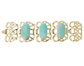 Vintage large 1960s swirl cuff bracelet with large amazonite seafoam green stones