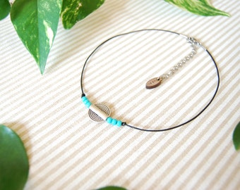 chocker necklace / silver / turquoise seed bead / minimalist / grunge / leather chocker / boho chocker