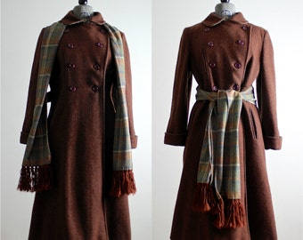 Plaid Coat • 1960s Coat • 60s Coat • Vintage Wool Coat • 60s Wool Coat • Double Breasted Coat • Tweed Coat • Plaid Scarf Tweed Coat • M - L