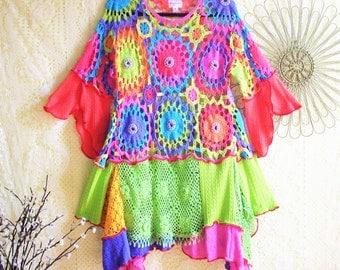 Upcycled Tunic/ Beaded Crochet Top/ Funky Bohemian Artsy Eco Tunic/Size L-XL by Brenda Abdullah
