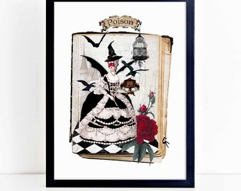 Halloween witch print, Marie Antoinette masquerade ball, wall art, A4 giclee