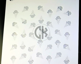 "Cookie Stencil - Ice Cream Cones- 2 part Stencil - 6""x6"""