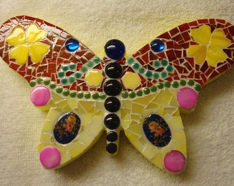 Mosaic Butterfly Red Yellow Pink and Blue for Wall Shelf or Mantle
