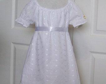 Clothing Girls White Dress-Eyelet    Flower Girl Dress  Baptism First Communion Infant Toddler Dress Dedication Dress  Size 6 mths - 10