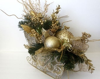 Christmas centerpiece, Holiday Table Décor, Christmas Sleigh arrangement , floral arrangement, holiday arrangement, leopard designs