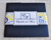 Pocket Fold Wedding Invitation Design Fee (Navy, Silver, and Yellow Monogram Passport Stamps Design)