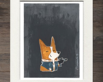 "Corgi ""Corg Solo"" Matted Art Print"