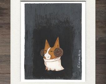 Corgi Princess Leia Matted Art Print
