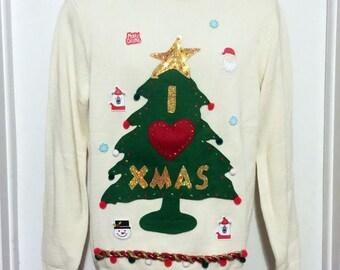 Ugly Christmas Sweater, Christmas Sweater, Christmas Tree, Sweater, Ugly Sweater Party, Small, White Sweater, Item #17