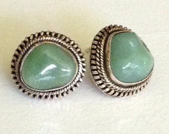 Chinese Jade Boulder Sterling Silver Stud Earrings Gilded