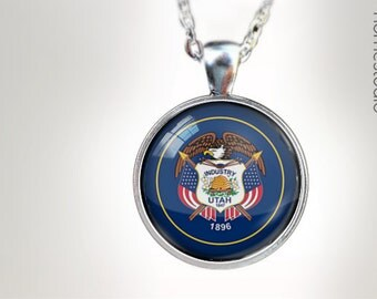Utah State Flag : Glass Dome Necklace gift present by HomeStudio. Round art photo pendant jewelry. Available as Key Ring Keychain