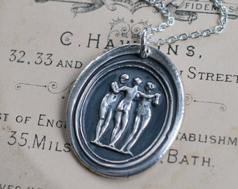 the three graces wax seal necklace ... antique classical wax seal jewelry in eco friendly fine silver