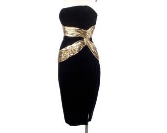 Vintage 80s Dress - 80s Party Dress - 80s Prom Dress - Black Velvet Dress - Strapless Dress - Black Gold - Strapless Velvet Dress - L  Large