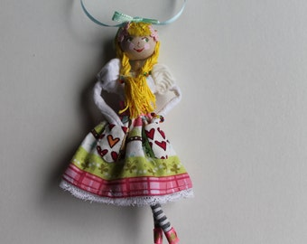 Handmade Cloth Doll May Day Maiden Hanging Ornament