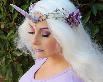 Unicorn Crown, Unicorn Headpiece, Unicorn Headdress, Lavender, Wedding, Costume Accessory, Fantasy, Festival, Halloween, MLP, My Little Pony