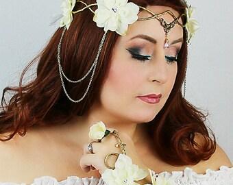 Flower Crown in Gold and Ecru, Wedding Headpiece, Wedding Accessory, Wedding Wreath, Floral Crown, Fairy, Renaissance, Costume, Burning Man