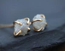 Rough diamond earrings - 14k white, rose or yellow gold - 1 carat - natural diamond earrings - raw diamond earrings - minimalist - chic