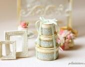 1:12 Dollhouse Miniature Soft Sage Round Victorian Gift Boxes