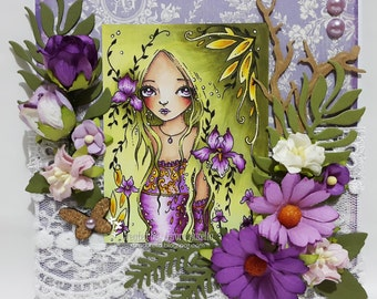 Iris from the mist - Digital Stamp Instant Download / Flower Fairy Fantasy Art by Ching-Chou Kuik