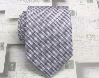 Mens Tie. Purple Lavender Silver Gray Checkers Mens Necktie With Matching Pocket Square Option