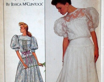 Vintage Gunne Sax Dress Pattern Edwardian Style Dress Simplicity 8610 Bust 32.5 Factory Folded Puff Sleeves