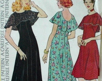 Vintage Boho Maxi Dress Pattern McCall's 4312 Bust 34 Factory Folded Cape Collar