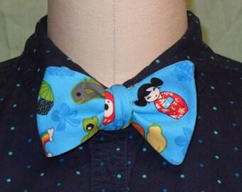 Tropical Blue Kawaii Print Bow Tie