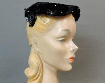 Vintage Black Velvet Hat with Beaded Appliques & Rhinestones, 1950s Evening Hat, 22 inch head