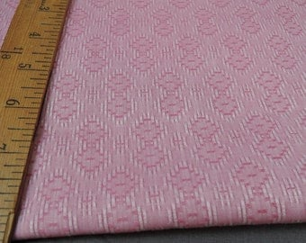 Vintage Fabric 60s Pink Woven Diamond Pattern, 44 wide 2-1/3 yards long, 1960s