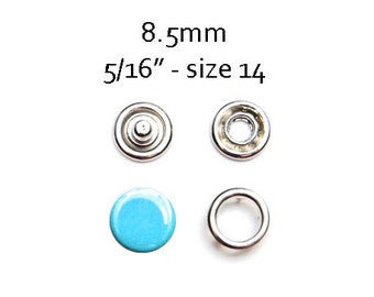 25 sets Turquoise Blue Snap Fasteners 8.5MM. capped snaps. clothes fasteners. no sew snap buttons. metal prong snaps. diaper snaps #700126