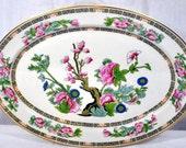 "Vintage O.P. Co Syracuse China  Indian Tree 14-1/8"" Oval Platter - Onandoga Pottery"
