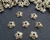 Antique Silver Bead Caps 25 pcs, Tibetan silver caps 8 mm, Jewelry Making Suppplies Bead Caps