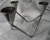 reserve for Tori VINTAGE Modern Mid Century Silver Metal Danish Candle Stand