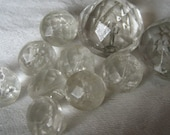 Lot of 10 VINTAGE Faceted Rounded Chunky Clear Glass BUTTONS