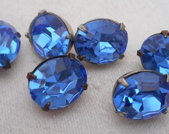 Set of 6 VINTAGE Oval Blue Glass Rhinestone BUTTONS