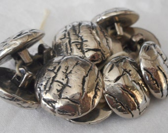 Set of 11 VINTAGE Silver Metalized Texture BUTTONS
