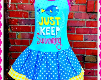 girls Finding Dory Nemo dress  4/5 6/6X 7/8 10/12 and 14/16 ready to ship