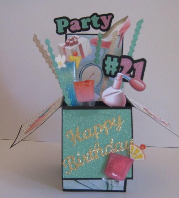 21st Birthday Pop Up Card Card In A Box By CardsbyMarianneG