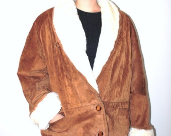 brown suede shearling coat 80s vintage long slouchy leather boho cocoon coat large