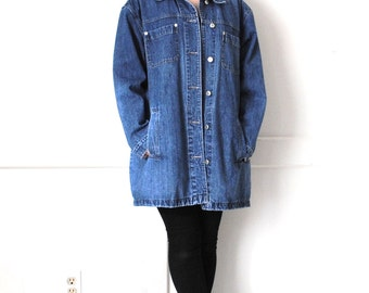 long denim jacket MINIMALIST 90s relaxed fit long vintage jean coat UNISEX open size jacket