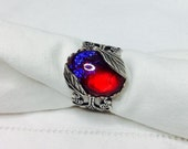 oO ZELDA Oo red mexican opal silver ring