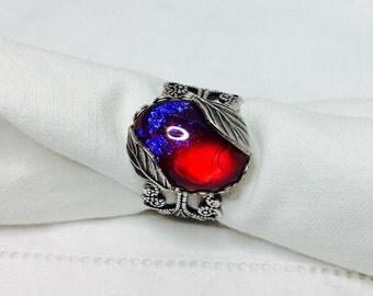 oO ZELDA Oo red mexican opal silver ring