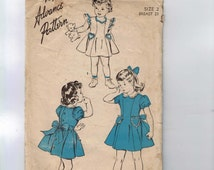 1940s Vintage Sewing Pattern Advance 4249 Girls Party Dress with Puff Sleeves Ruffles Heart Pockets Size 2 Breast 21 40s INCOMPLETE