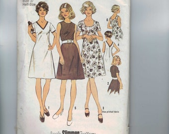 1980s Vintage Sewing Pattern Simplicity 5622 Misses A Line Dress with Neckline Variations Plus Half Size 14 1/2 Bust 37  99